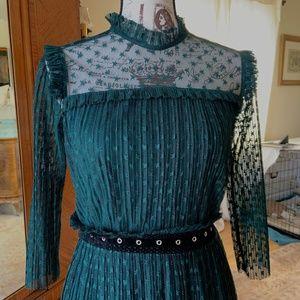 TOPSHOP Beautiful Teal Lace High Neck Dress